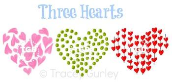 Three Hearts clip art, Printable Tracey Gurley Designs