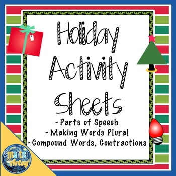 Set of Three Holiday Language Arts Activity Pages each front and back