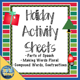 Set of Three Holiday Language Arts Activity Pages each fro