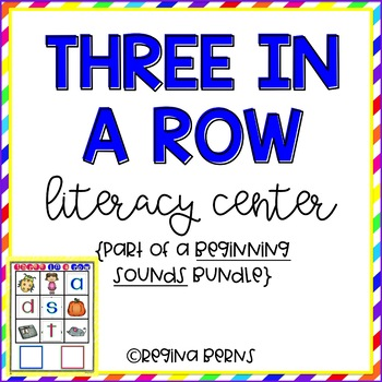 Three In A Row Literacy Center {Beginning Sounds}