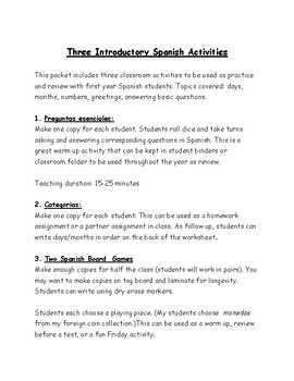 Three Introductory Spanish Activities: days, date, and more!