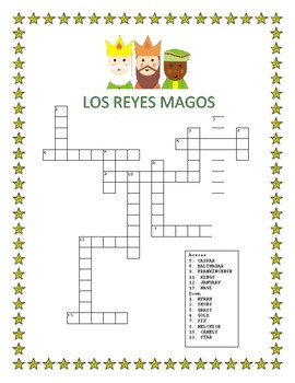 Three Kings Day- Word Search and Cross Word Puzzle-Los Reyes Magos- Jan 6th