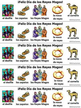Three Kings Day Bookmarks In Spanish - With & Without Vocabulary Words