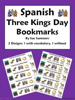 Three Kings Day Bookmarks In Spanish - With & Without Voca