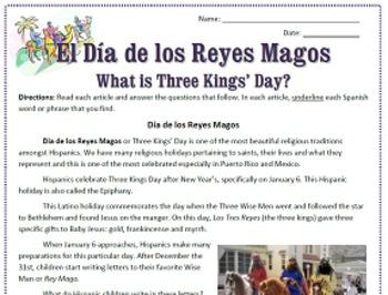 Three Kings' Day / El Día de los Reyes Magos: Reading & Substitute Plan