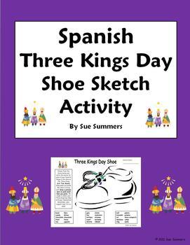 Three Kings Day Holiday Bilingual Shoe Activity Worksheet