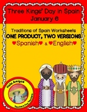 Three Kings' Day Worksheets in Spanish & English-Día de lo