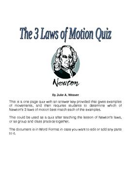 Three Laws of Motion Quiz