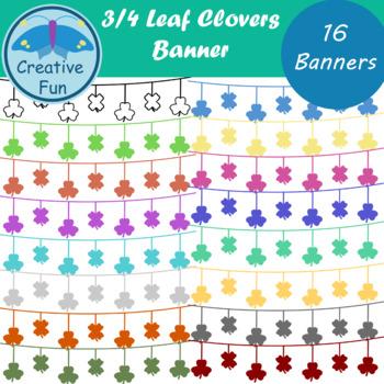 Three Leaf Four Leaf Clover Banner Clipart