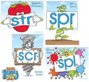 Three Letter Blend Buddy Poster Pack (SCR, SPL, SPR, STR)