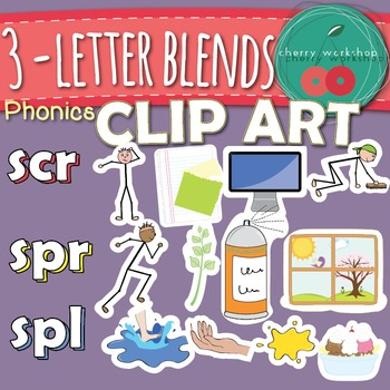 Three-Letter Blends/ Trigraphs {Phonics Clip Art} scr, spr, spl {Commercial Use}