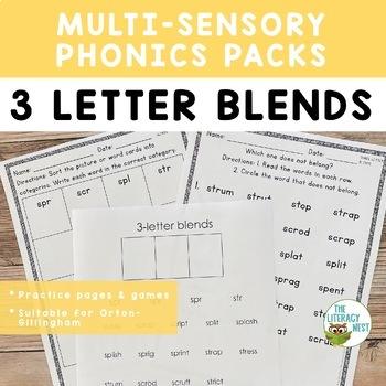 Three Letter Blends Phonics Practice Orton-Gillingham