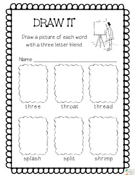 Three Letter Blends Read It and Draw It