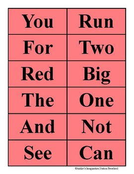 Three Letter Sight Word Matching Game