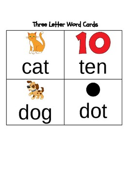 Three Letter Word Picture Cards