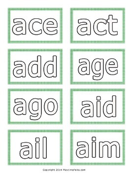 Three Letter Words from A to Z - Printable Word Cards to Color