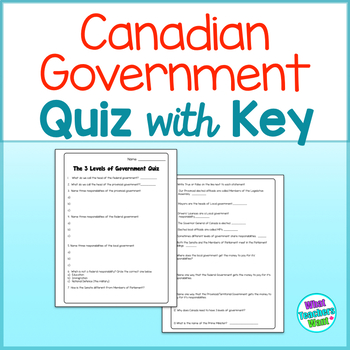 Three Levels of Canadian Government Quiz