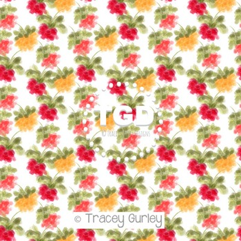 Three Little Blossoms on white digital paper Printable Tra