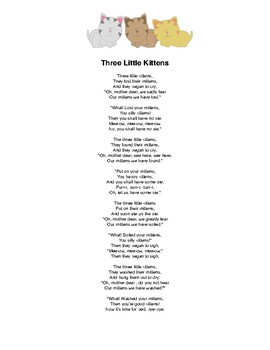 """""""Three Little Kittens"""" Mother Goose Nursery Rhyme Popsicle Stick Puppets"""