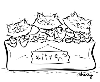 Three Little Kittens coloring page, writing prompt, clip art