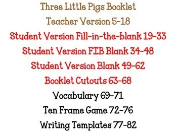 Three Little Pigs literacy and math activities