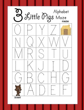 Three Little Pigs Alphabet Tracing Mazes (3 Total)