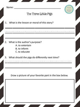 Three Little Pigs Author's Purpose and Comparison Chart