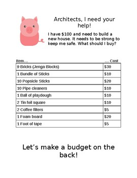 Three Little Pigs Building Budget