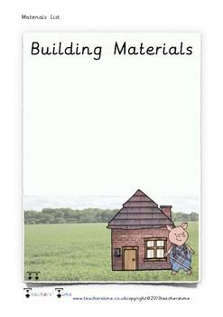 Three Little Pigs Building Materials List