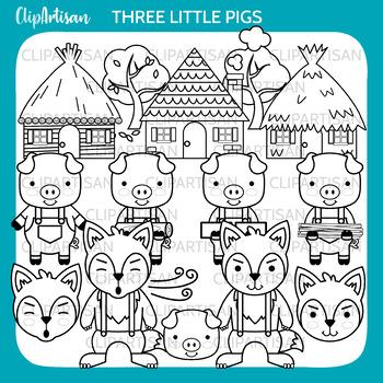 Three Little Pigs Clip Art, Fairy Tale Printable