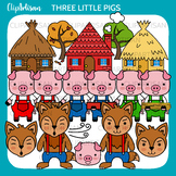 Three Little Pigs Clip Art, Fairy Tale Printable