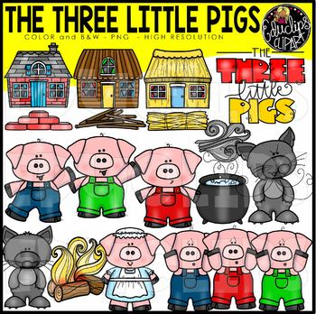 Three Little Pigs Clip Art Bundle {Educlips Clipart}