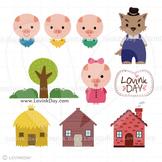 Three Little Pigs Clip Art Set D13014