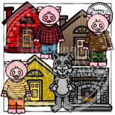 Three Little Pigs Clipart (Fairytale Clipart)