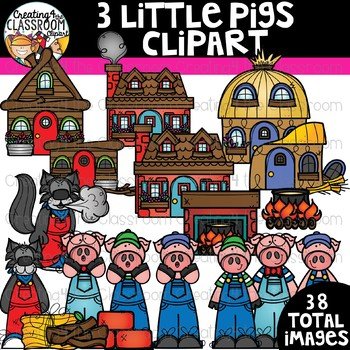Three Little Pigs Clipart Bundle {Reading Clipart}
