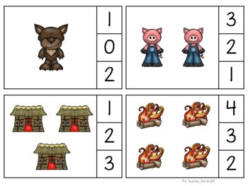 Three Little Pigs Count & Clip Numbers 1- 30 Task Cards
