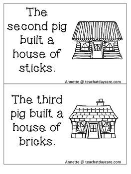 Three Little Pigs Emergent Reader. Pre-k, Kindergarten, 1st Grade Reading.