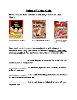 Three Little Pigs Fairy Tale Point of View