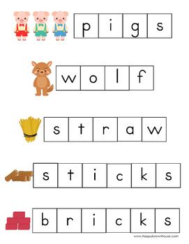 Three Little Pigs Letter Tiles Spelling Mat