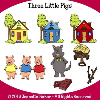 Three Little Pigs Inspired Clip Art by Jeanette Baker