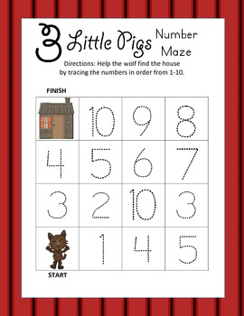 Three Little Pigs Kindergarten Leveled Number Tracing Mazes (3 Total)