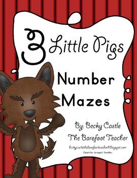 Three Little Pigs Kindergarten Leveled Number Tracing Maze