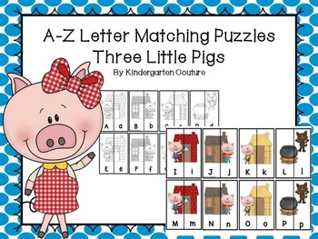 Three Little Pigs Letter Matching Puzzles