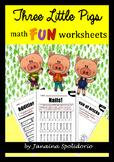 Three Little Pigs MATH FUN worksheets
