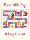 Three Little Pigs Math Folder Game - Common Core - Adding 10 to 20