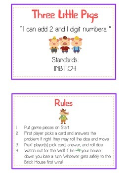 Three Little Pigs Math Folder Game - Common Core - Adding 2 and 1 Digit Numbers
