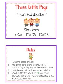 Three Little Pigs Math Folder Game - Common Core - Adding Doubles