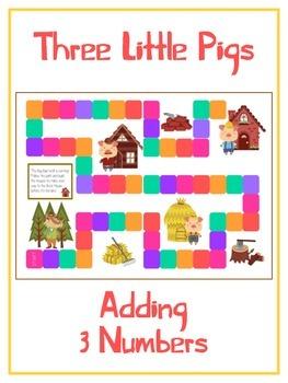 Three Little Pigs Math Folder Game - Common Core - Adding Three 3 Numbers