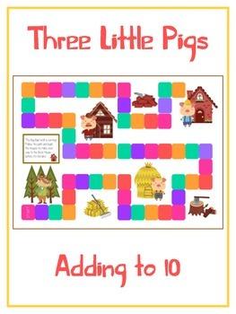 Three Little Pigs Math Folder Game - Common Core - Adding to 10