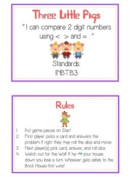 Three Little Pigs Math Folder Game - Common Core - Comparing 2 Digit Numbers